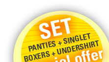 Buy our amazing sets: panties + singlet, boxers + undershirt only until 30. 9. 2014.