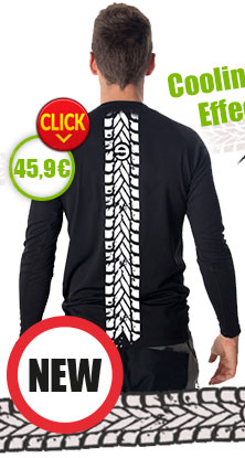 New - Gents´ T-shirt with long sleeves nanosilver coolmax, imprinted MOTORCYCLE TRACK
