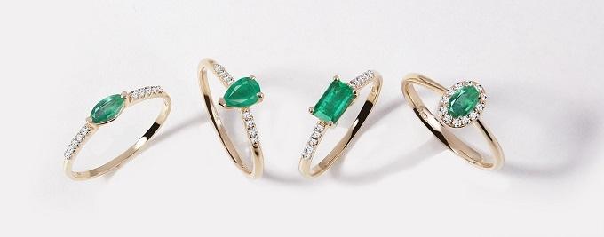 Prsteny se smaragdy ve žlutém zlatě - KLENOTA