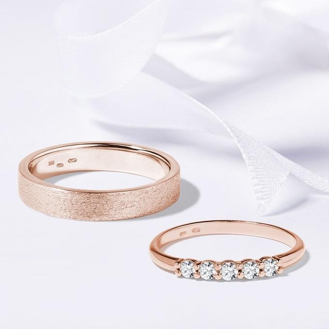 Snubní prsteny z růžového zlata KLENOTA