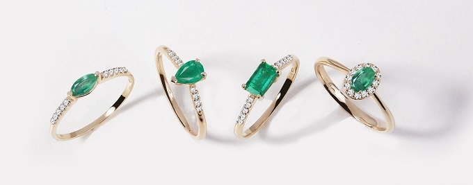 Emerald rings in yellow gold - KLENOTA