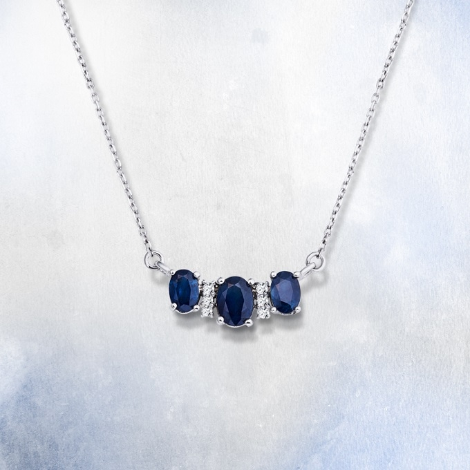 Necklace with sapphires - KLENOTA