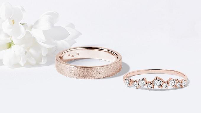Obrączki ślubne KLENOTA - różowe złoto i diamenty