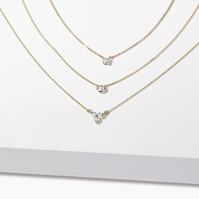Goldhalsketten mit Diamanten - KLENOTA