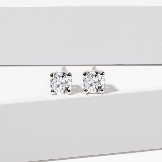 Diamentowe kolczyki w białym złocie - KLENOTA