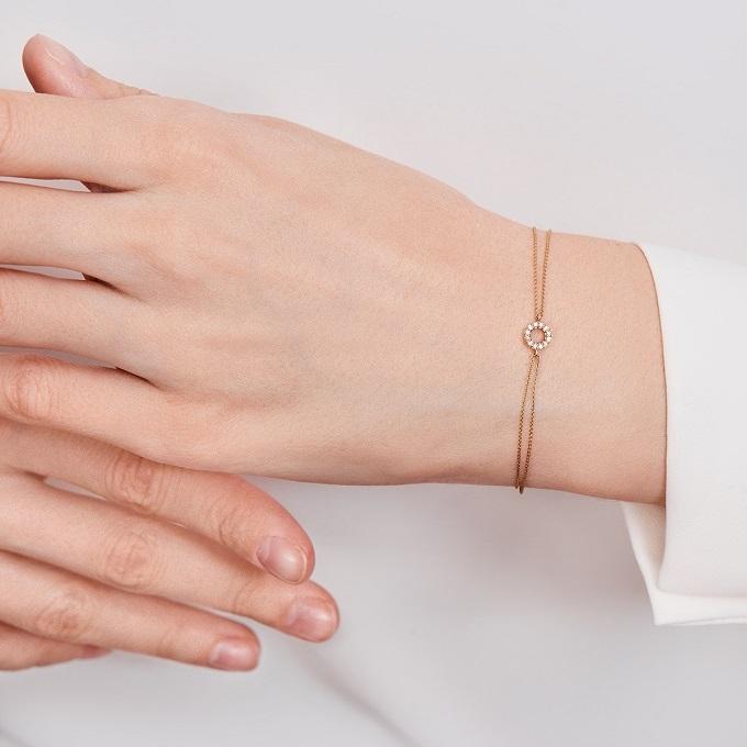 Náramok z ružového zlata s diamantmi - KLENOTA