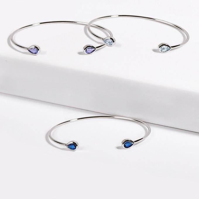 Bracelets en or blanc avec pierres précieuses - KLENOTA