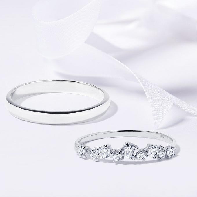 Svadobné obrúčky v bielom zlate s diamantmi - KLENOTA
