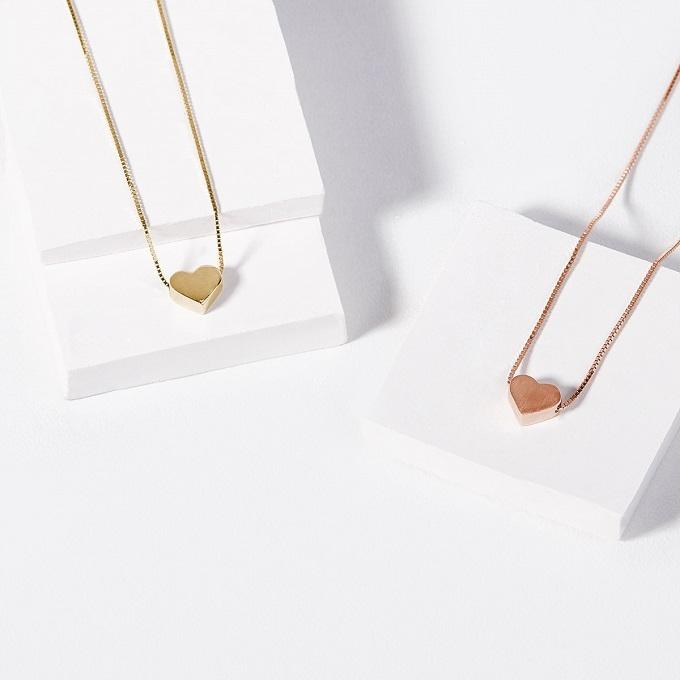 Přívěsky ve tvaru srdce ve žlutém a růžovém zlatě - KLENOTA