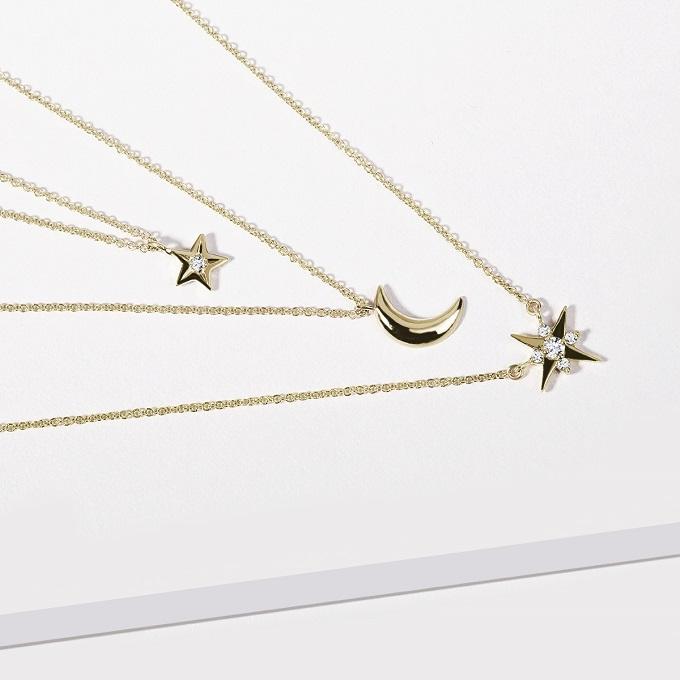 Zlaté přívěsky měsíček a hvězdička s diamanty - KLENOTA