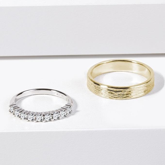 Snubní prsteny z bílého a žlutého zlata, dámský s diamanty - KLENOTA