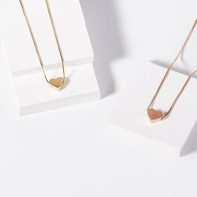 Pendentifs en forme de coeur en or jaune et rose - KLENOTA