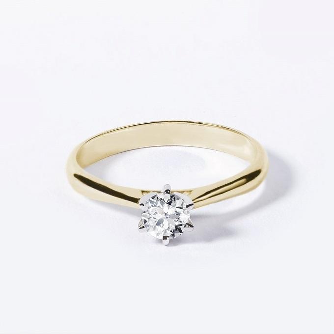 Verlobungsring mit Diamant in Weiß- und Gelbgold - KLENOTA