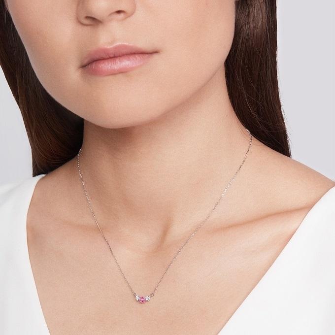 Collier en or blanc avec saphir rose et diamants - KLENOTA