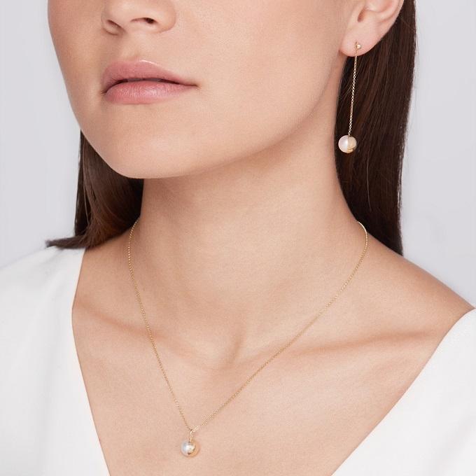 Zlaté náušnice a přívěsek s perlou - KLENOTA