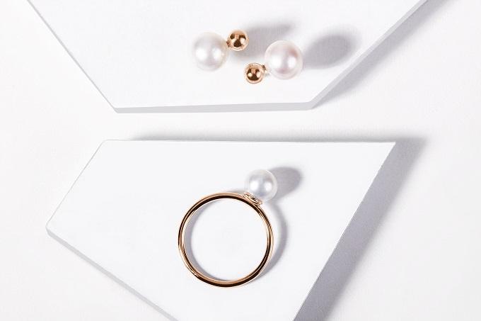 Náušnice a prsten z růžového zlata s perlami - KLENOTA