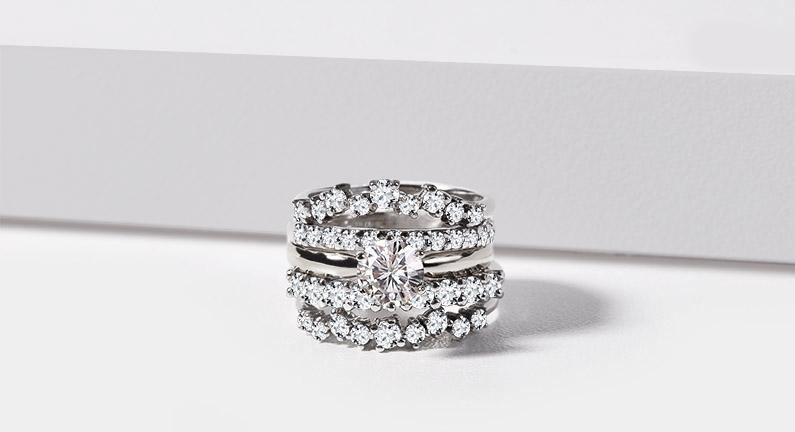 Prsteny s diamanty v bílém zlatě - KLENOTA