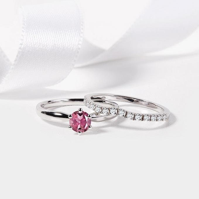 Prsteny z bílého zlata s turmalínem a diamanty - KLENOTA