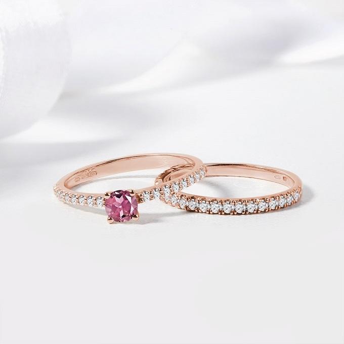 Prsteny z růžového zlata s turmalínem a diamanty - KLENOTA
