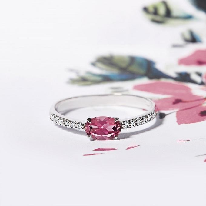 Prsten z bílého zlata s turmalínem a diamanty - KLENOTA