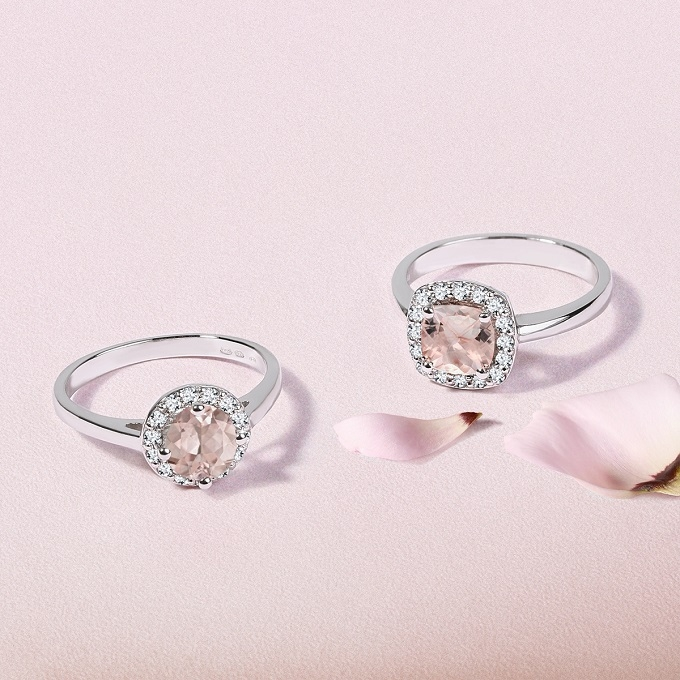Halo prsteny z bílého zlata se s morganitem a diamanty - KLENOTA