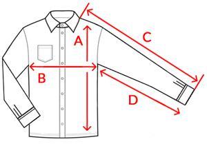 0557d3fa29 Méret, Hossz (A), mell szélesség (B), Külső ujhossz (C), Belső ujjhossz (D)
