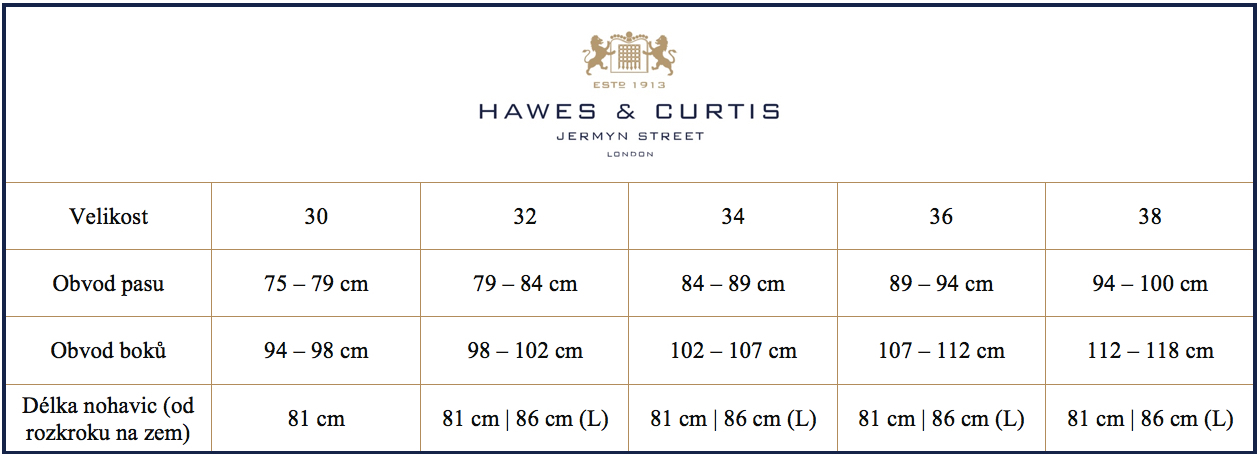 Tabulka velikostí chinos kalhoty Hawes & Curtis