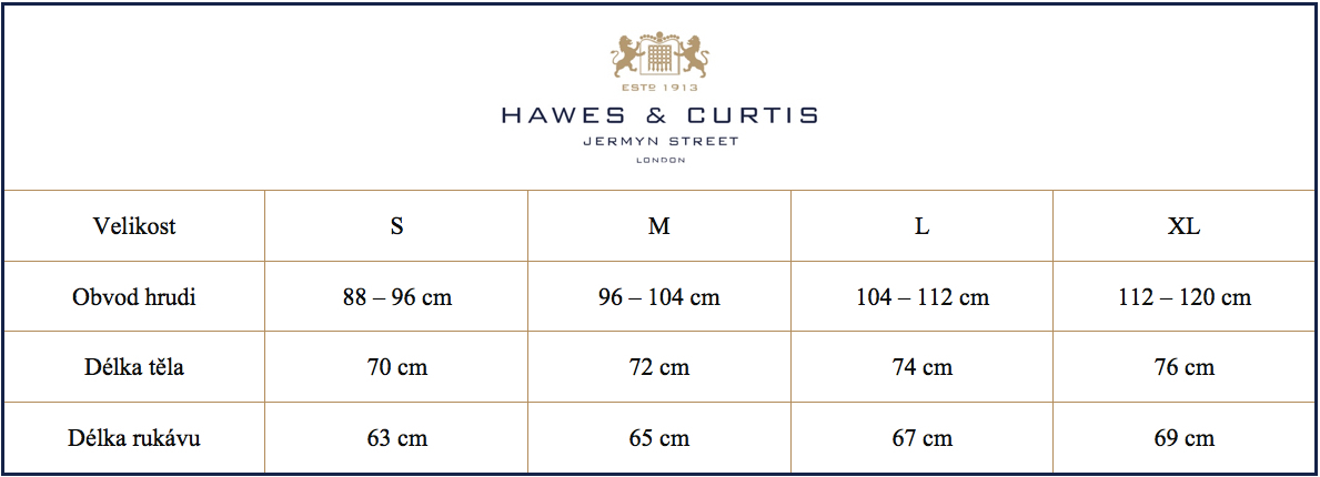 Tabulka velikostí svetry Hawes & Curtis