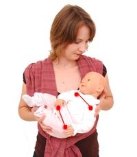 úvazy nošení v šátku kolíbka miminko