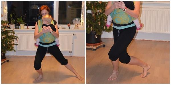cvičení s dětmi v šátku nebo nosítku
