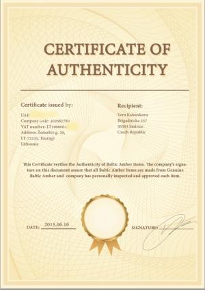 Certifikát pravosti jantaru