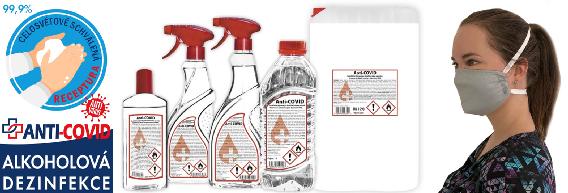 Dezinfekce a roušky skladem