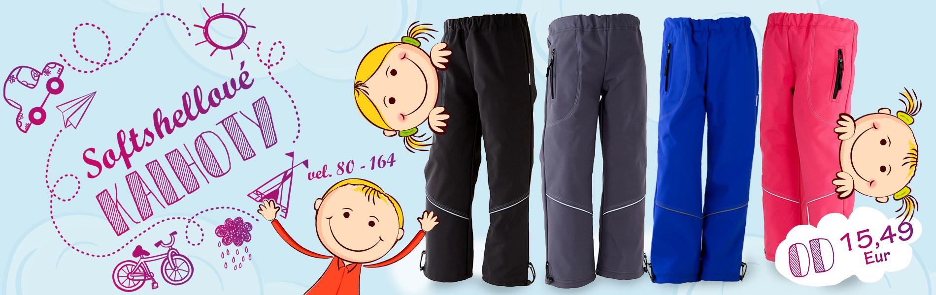 Softshellové nepromokavé kalhoty pro děti