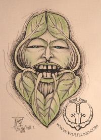 Green Man Face Pendant