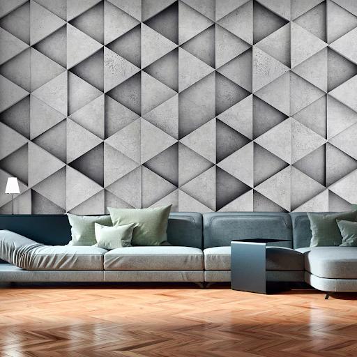 Tapeta v geometrických tvaroch - šedé geo trojuholníky