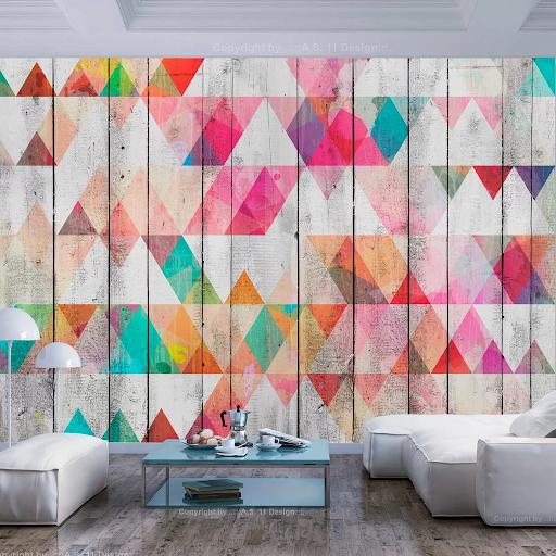 Tapeta v geometrických tvaroch - farebné geo trojuholníky