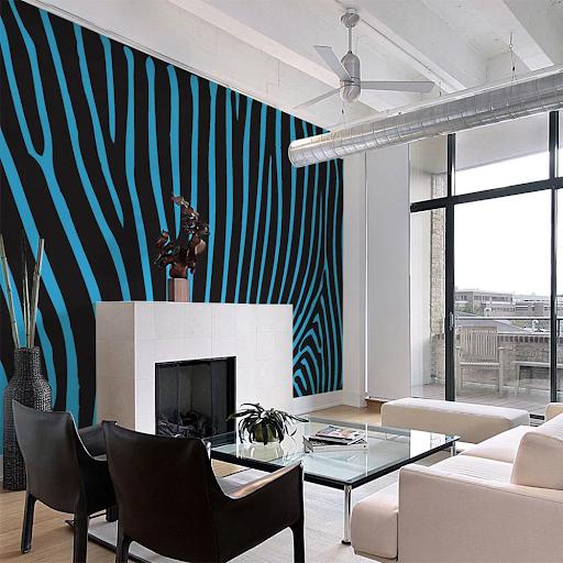 Tapety v geometrických tvaroch - modrý zebrí vzor