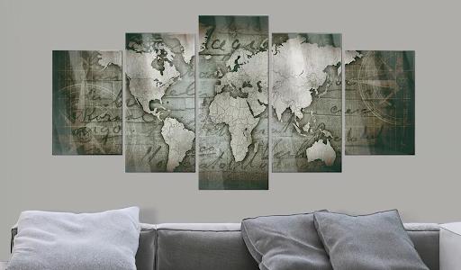 Obraz bronzová mapa na akrylátovom skle