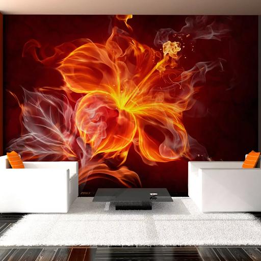 Červená tapeta s ohnivým kvetom dovido