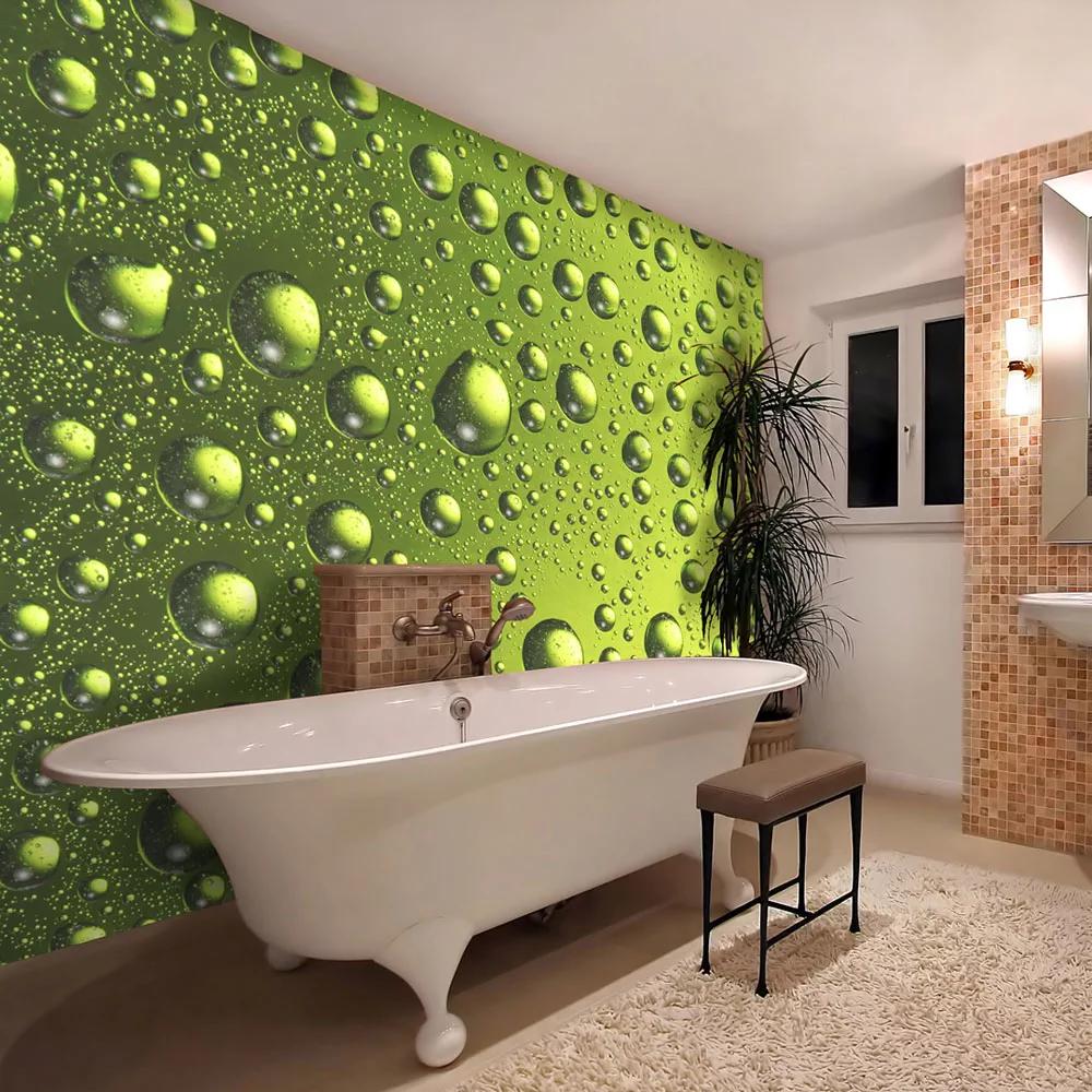 Zelené tapeta s kvapkami vody dovido