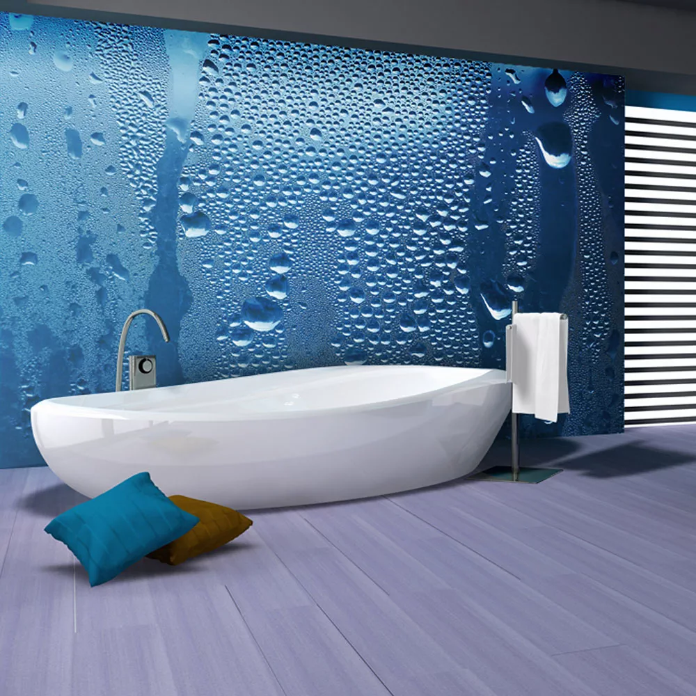 Modrá tapeta do kúpeľne kvapky vody dovido