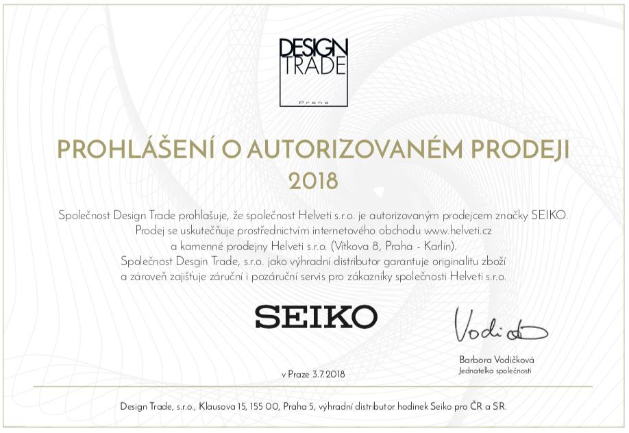 Certifikát Seiko prodejce hodinek Helveti s.r.o.