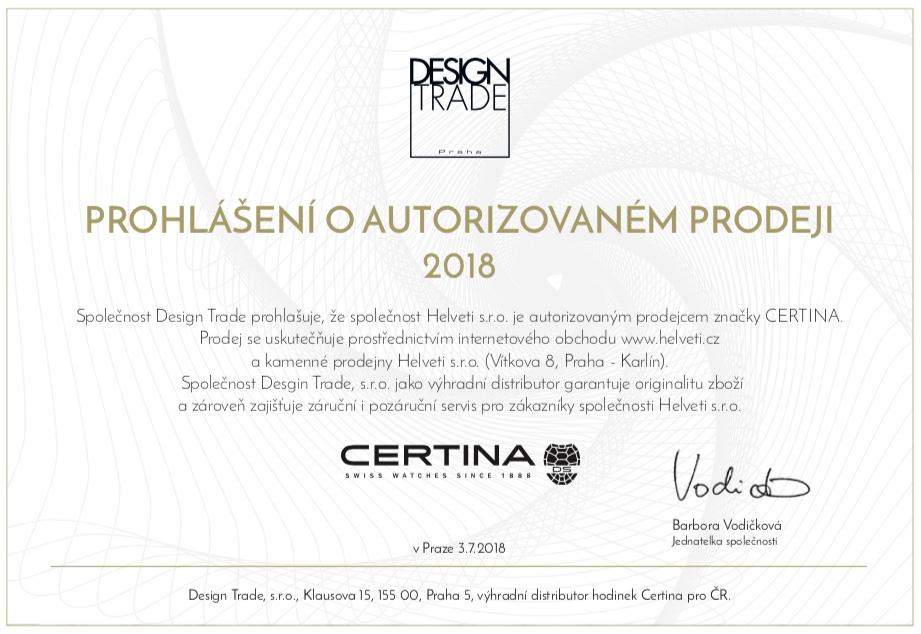 Certifikát certina prodejce hodinek Helveti s.r.o.