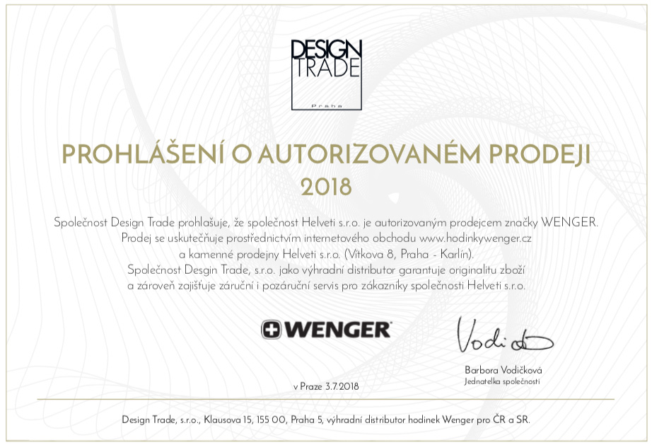 Certifikát Wenger prodejce hodinek Helveti s.r.o.