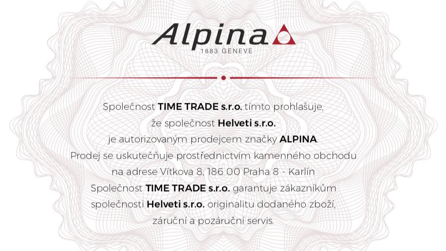 Certifikát Alpina prodejce hodinek Helveti s.r.o.