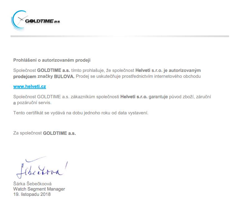 Certifikát Bulova prodejce hodinek Helveti s.r.o.