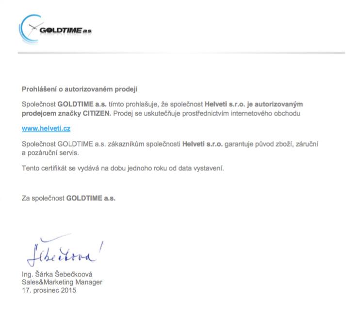 Certifikát Citizen prodejce hodinek Helveti s.r.o.