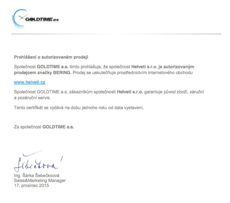 Certifikát Bering prodejce hodinek Helveti s.r.o.