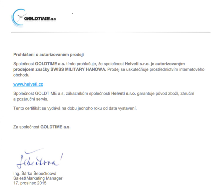 Certifikát Swiss Military Hanowa prodejce hodinek Helveti s.r.o.