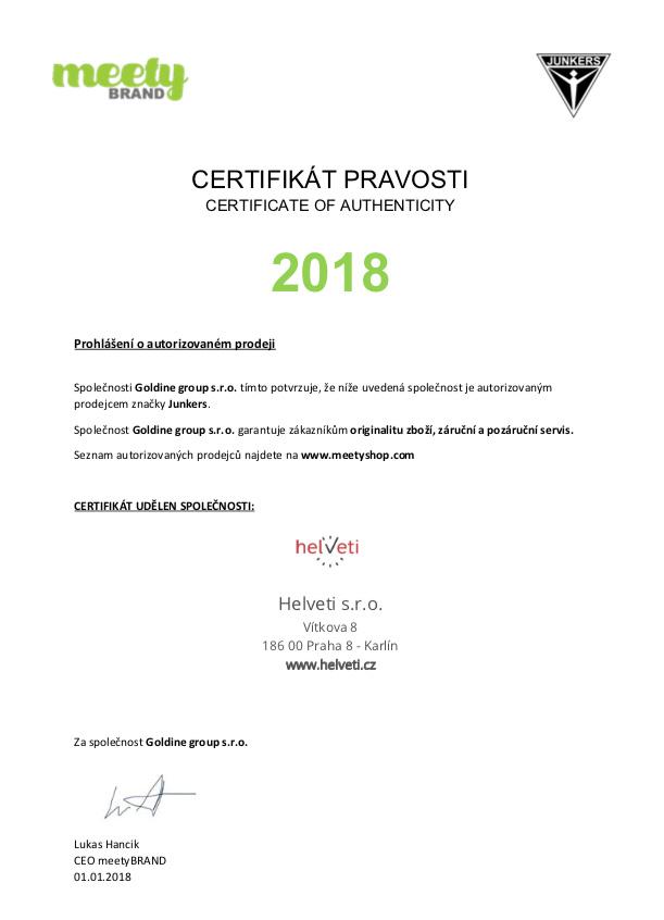 Certifikát junkers prodejce hodinek Helveti s.r.o.